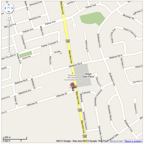 Map to Hillsview Massage and Therapy Centre